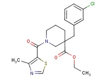 ethyl 3-(3-chlorobenzyl)-1-[(4-methyl-1,3-thiazol-5-yl)carbonyl]-3-piperidinecarboxylate
