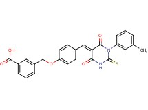 3-[(4-{[1-(3-methylphenyl)-4,6-dioxo-2-thioxotetrahydro-5(2H)-pyrimidinylidene]methyl}phenoxy)methyl]benzoic acid