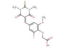 {4-[(1,3-dimethyl-4,6-dioxo-2-thioxotetrahydro-5(2H)-pyrimidinylidene)methyl]-2-iodo-6-methoxyphenoxy}acetic acid