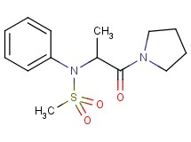 N-[1-methyl-2-oxo-2-(1-pyrrolidinyl)ethyl]-N-phenylmethanesulfonamide (non-preferred name)