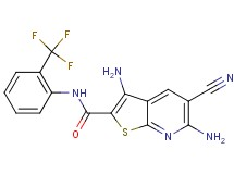 3,6-diamino-5-cyano-N-[2-(trifluoromethyl)phenyl]thieno[2,3-b]pyridine-2-carboxamide